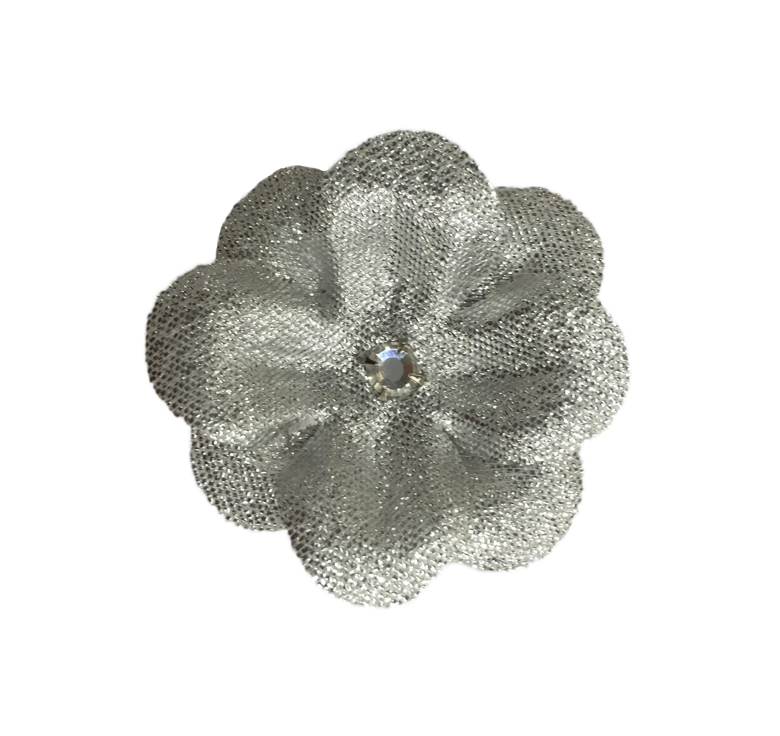 15 Silver Silk Flower Clips Set Of 2 Ms Schmalberg