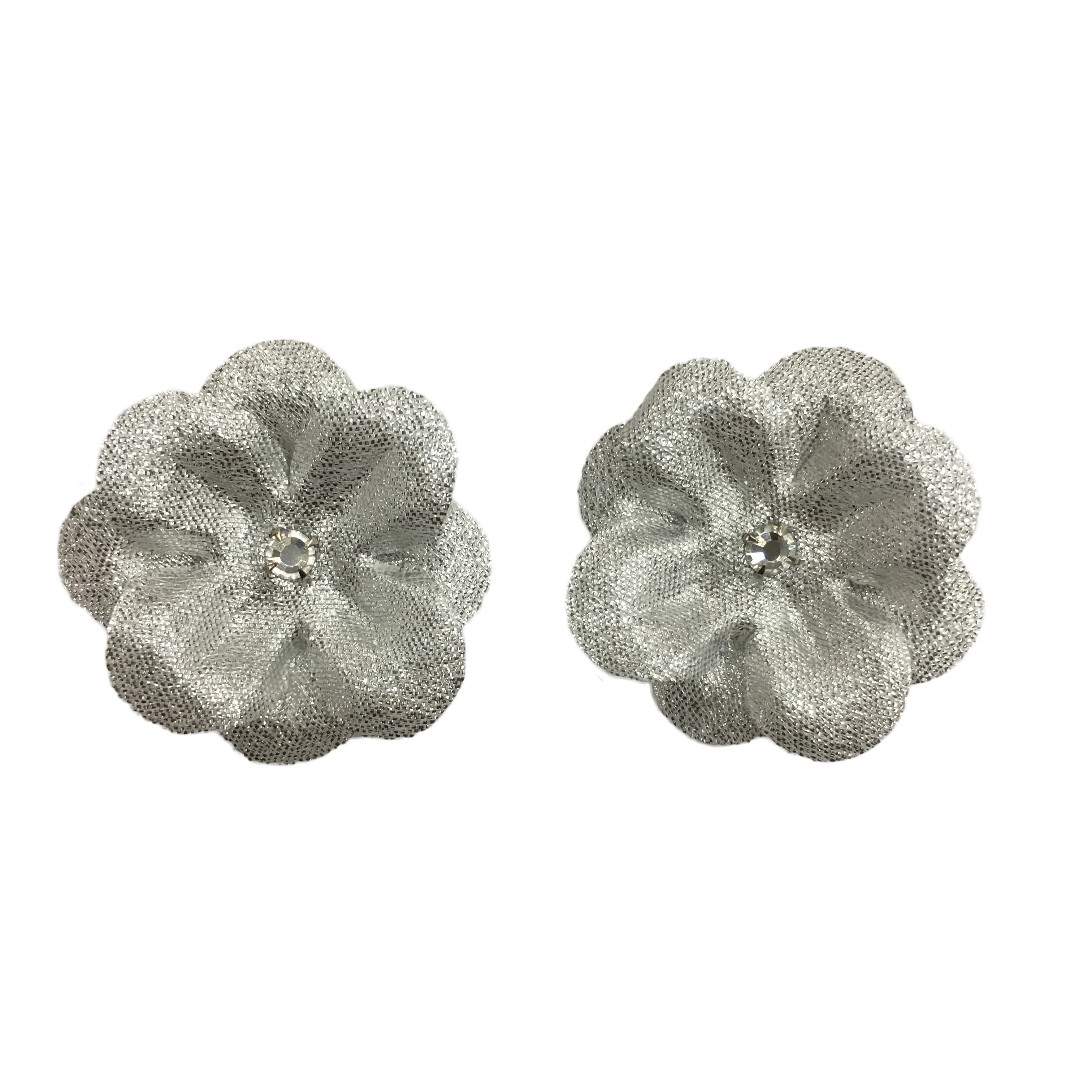 15 silver silk flower clips set of 2 ms schmalberg 15 silver silk flower mightylinksfo
