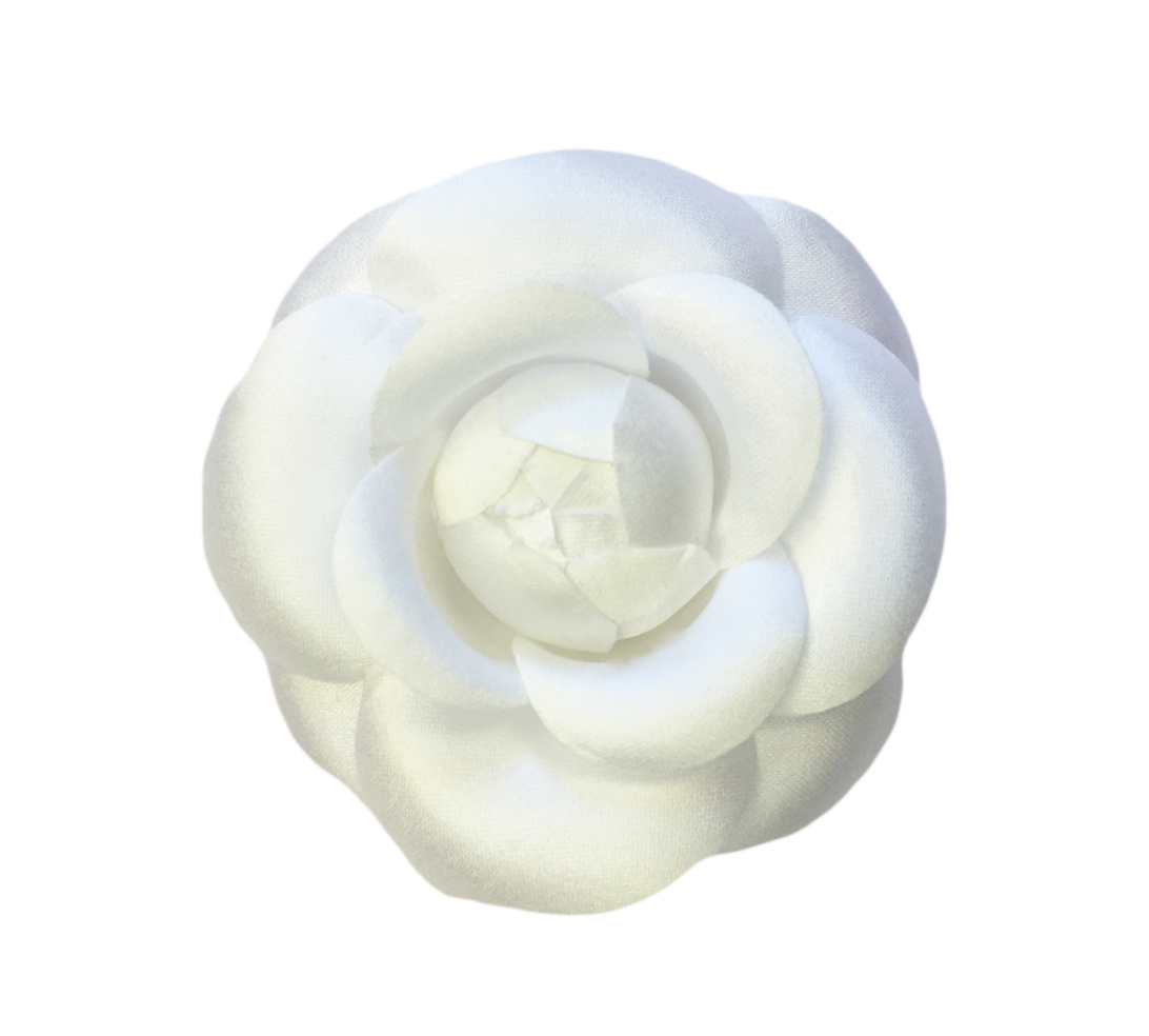 275 White Silk Satin Camellia Brooch Pin Ms Schmalberg