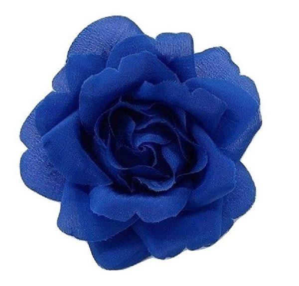 blue silk rose flower brooch