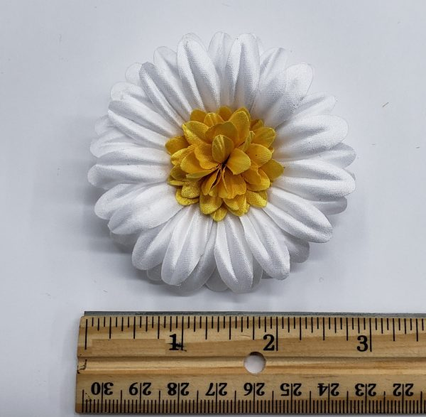 white daisy fabric flower pin